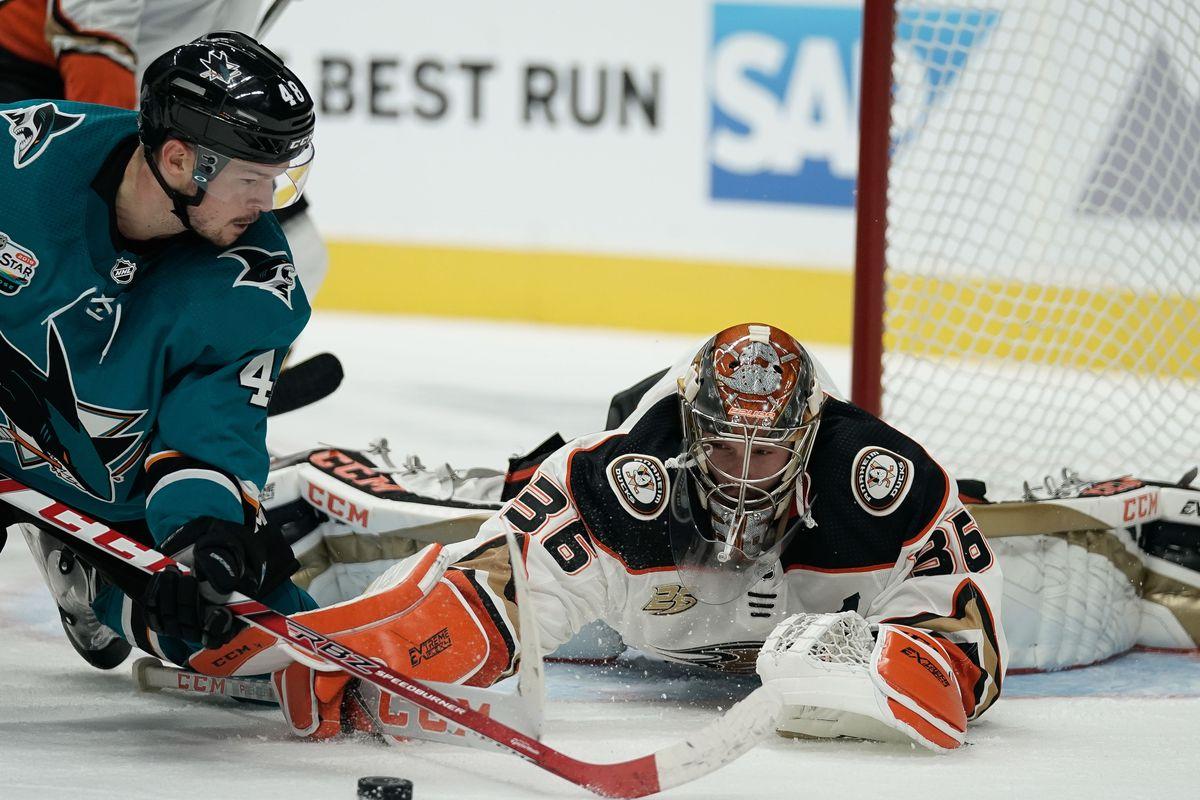 Anaheim Ducks goaltender John Gibson (36) defends the puck from San Jose Sharks center Tomas Hertl (48) during the third period at SAP Center at San Jose.