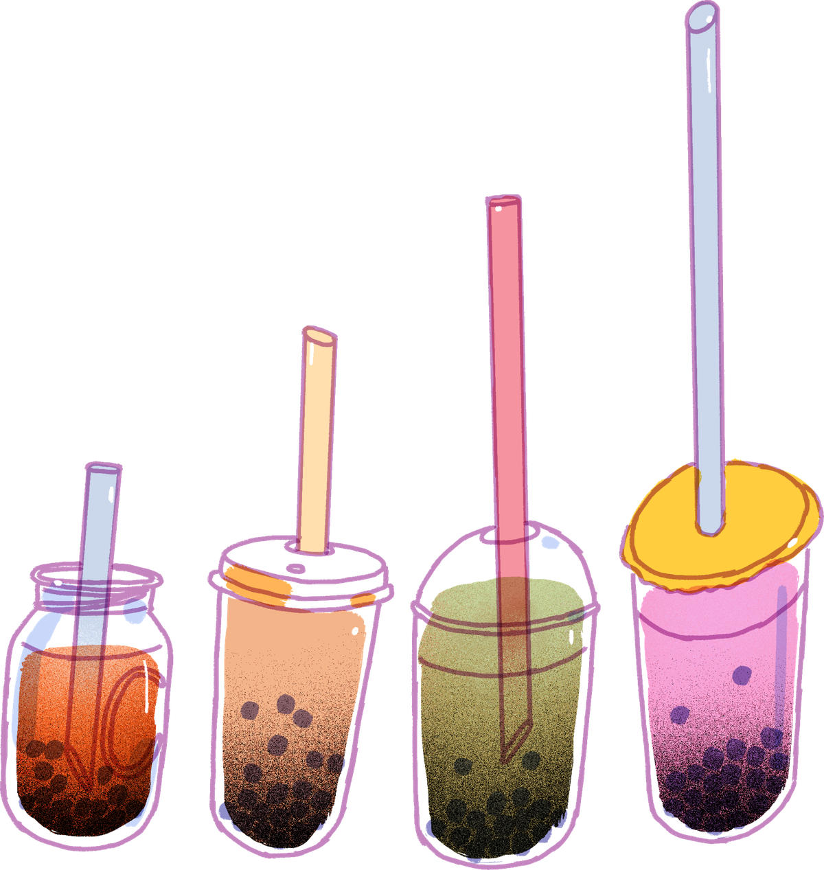 Four cups of bubble tea in a line, each with a straw longer than the one preceding it.