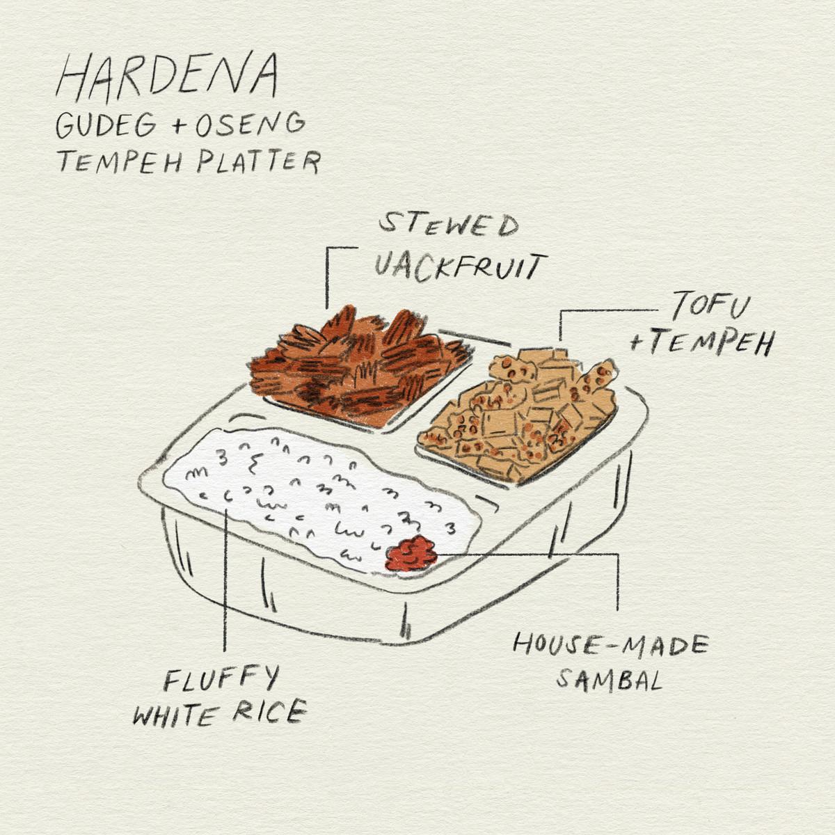 minh họa với cơm dẻo, tempeh và đậu phụ, mít hầm và sambal
