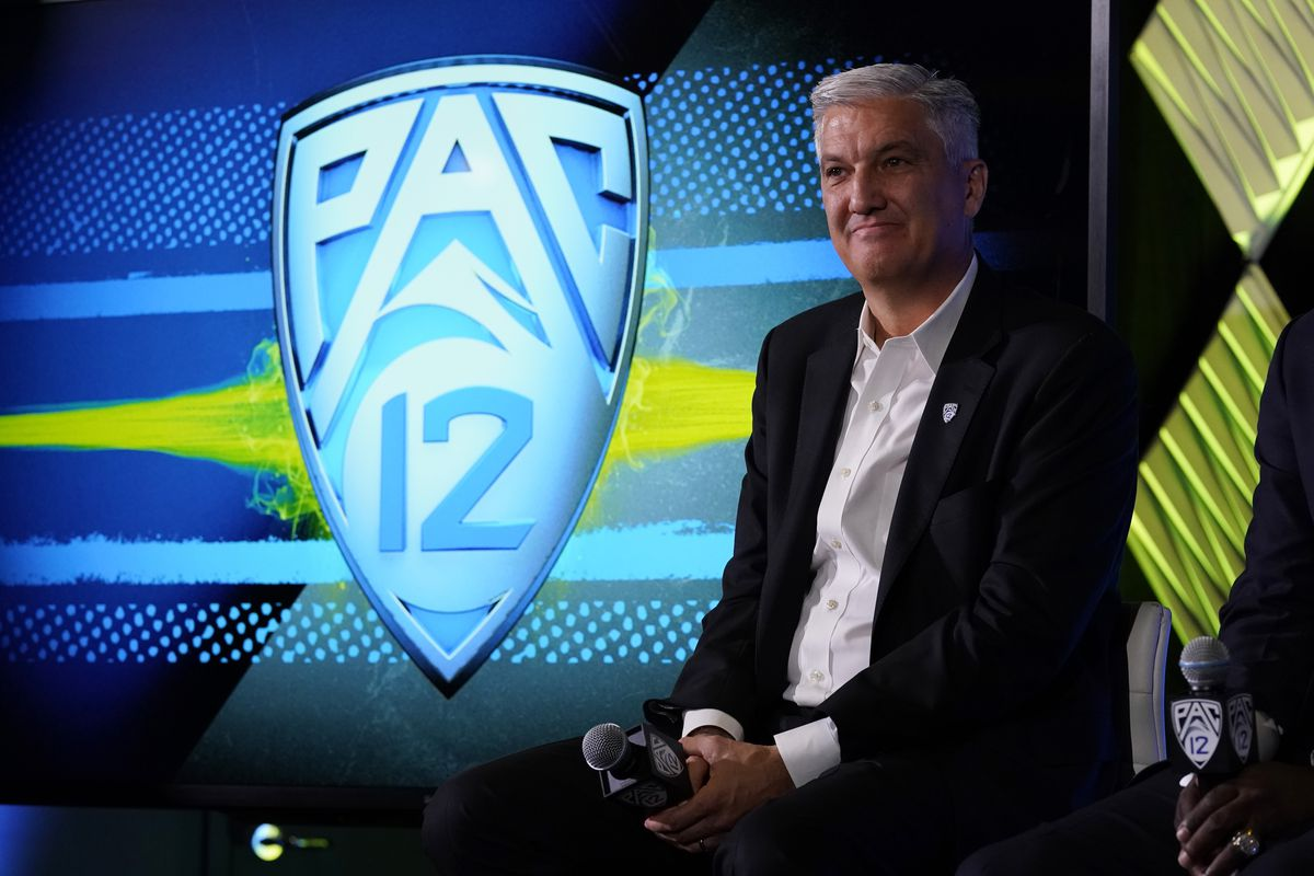 Pac-12 Commissioner George Kliavkoff fields questions during the Pac-12 Conference Media Day in Los Angeles.