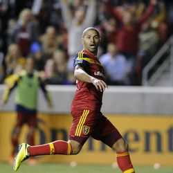 Real Salt Lake forward Alvaro Saborio (15) watches his second goal during a game at Rio Tinto Stadium in Sandy on Saturday, March 29, 2014.