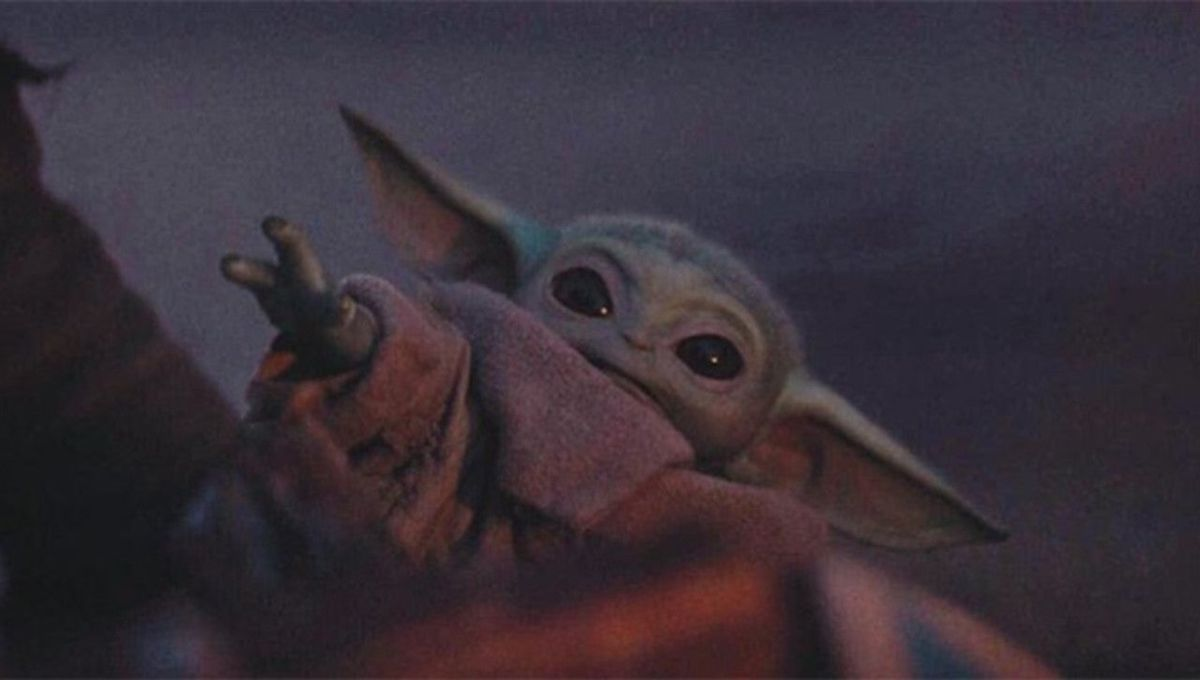 baby yoda reaching a wee little hand out
