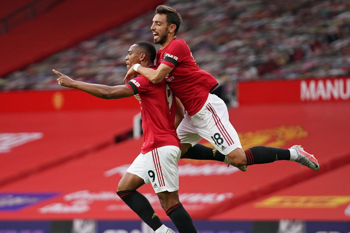 Anthony Martial, Bruno Fernandes and Marcus Rashford - Manchester United - Premier League