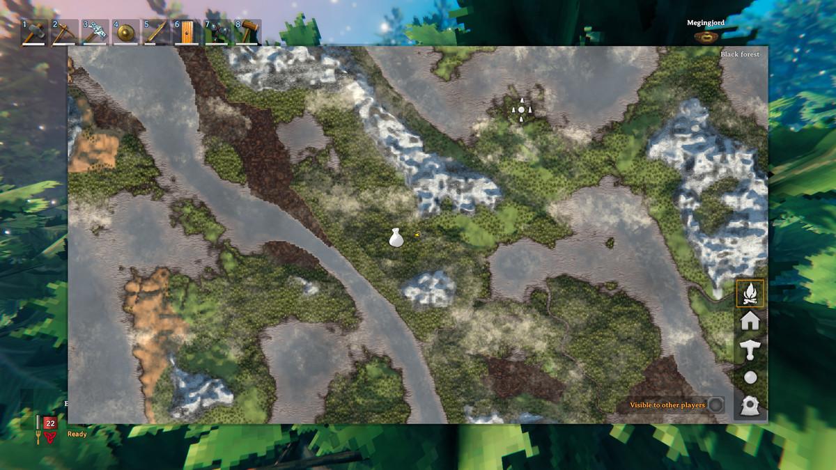 A screenshot of the map in Valheim