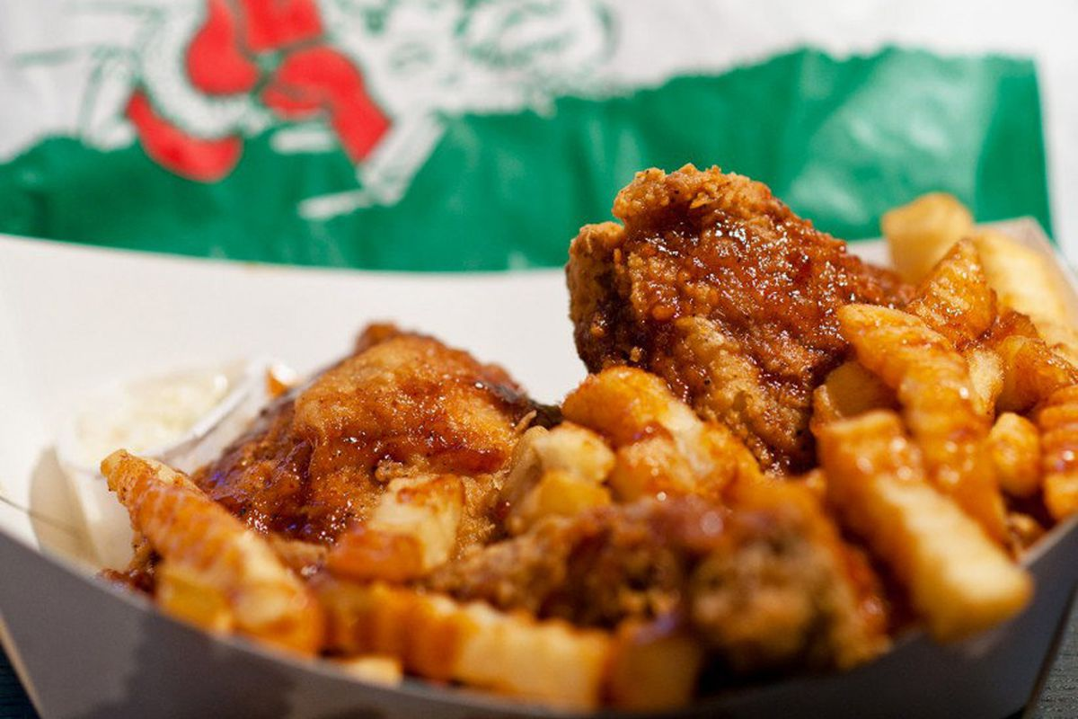 A serving of fried chicken and fries from Chicago's famous Harold'sChicken Shack.