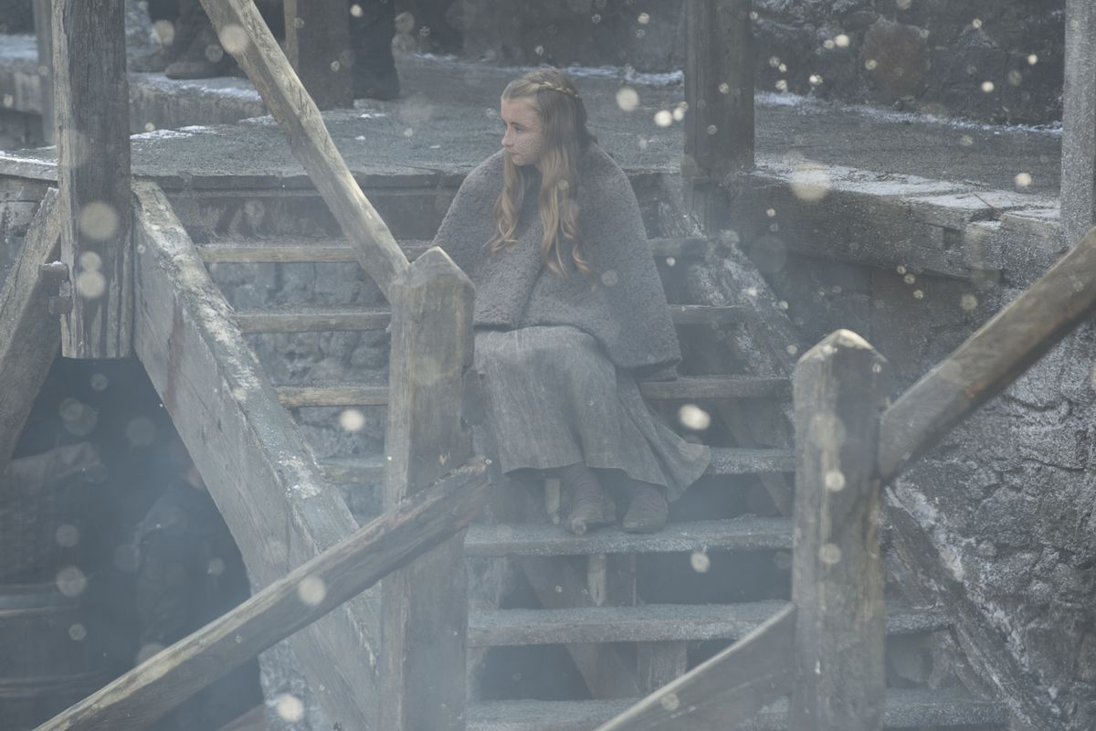 Stannis's daughter Shireen observes her dad.