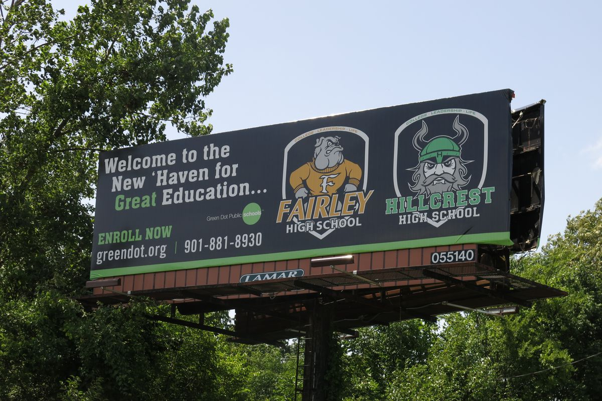 Green Dot Public Schools paid for a billboard along a major Memphis thoroughfare to share information about the charter operator's schools.