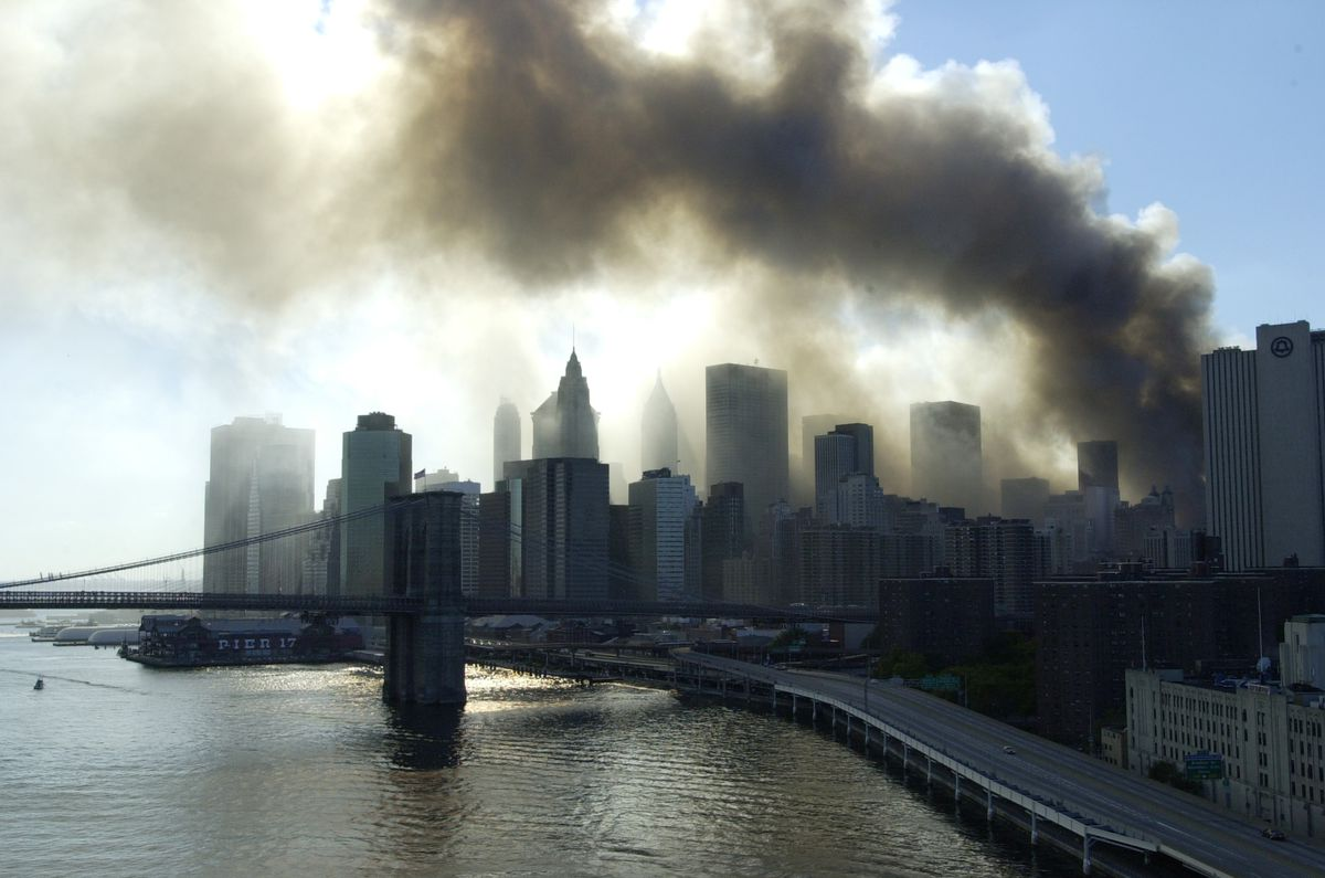 Smoke billows toward the harbor in Lower Manhattan after the terrorist attack on the World Trade Center.