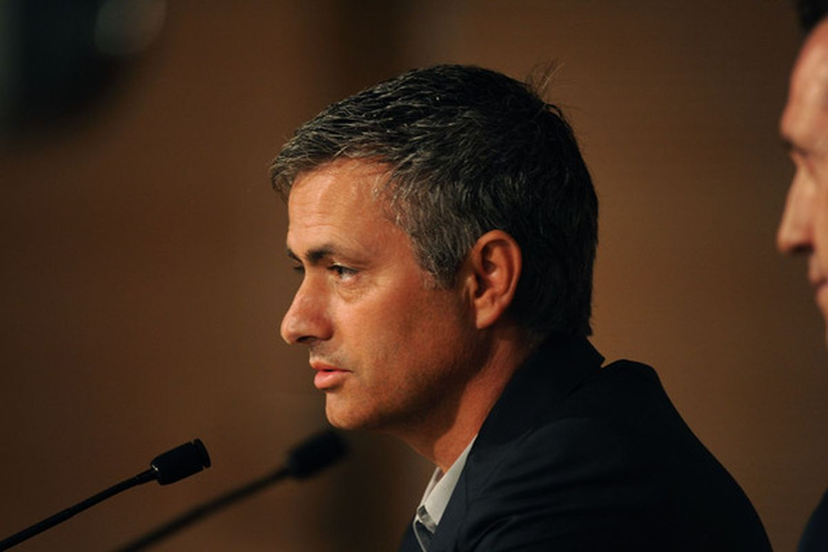 MADRID, SPAIN - MAY 31:  New Real Madrid head coach Jose Mourinho of Portugal holds a press conference at  the Santiago Bernabeu stadium on May 31, 2010 in Madrid, Spain.  (Photo by Denis Doyle/Getty Images)
