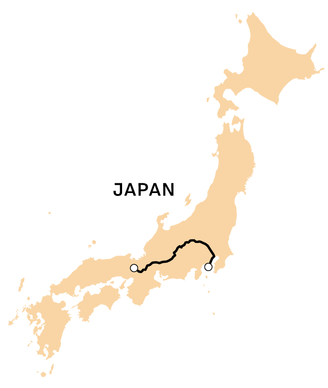 A map of the writer's route across Japan