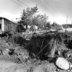 Torrents of flood water cut through a major road in Bountiful at Davis Boulevard at about 250 North. Small creeks became dangerous rivers in 1983.