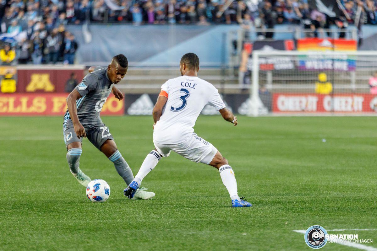 October 21, 2018 - Minneapolis, Minnesota, United States - Minnesota United forward Darwin Quintero (25) cuts passed LA Galaxy defender Ashley Cole (3) during the match at TCF Bank Stadium.
