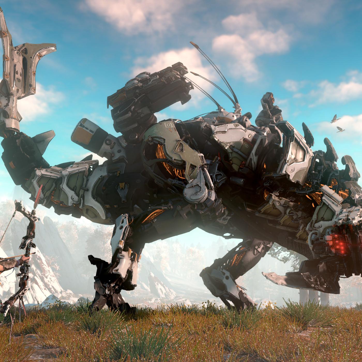 Horizon Zero Dawn: a robot-dinosaur hunting game with