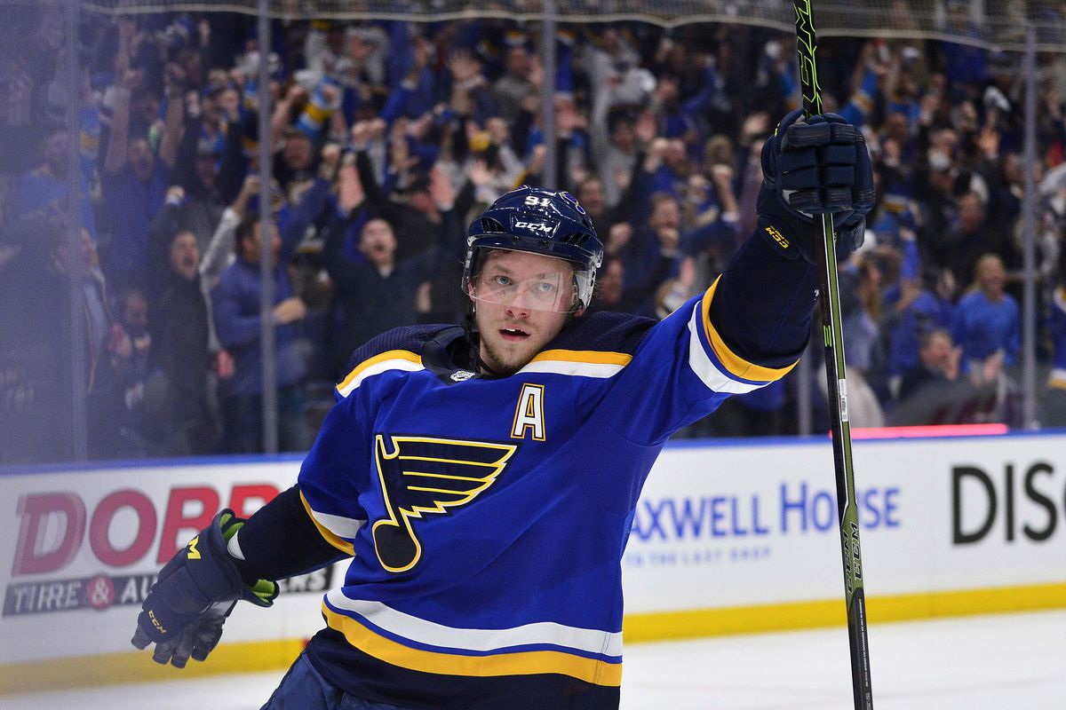 Apr 25, 2019; St. Louis, MO, USA; St. Louis Blues right wing Vladimir Tarasenko (91) celebrates after scoring against Dallas Stars goaltender Ben Bishop (not pictured) during the second period in game one of the second round of the 2019 Stanley Cup Playof