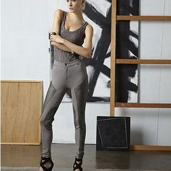 Skinny Faux Leather Panelled Pants, $65.00