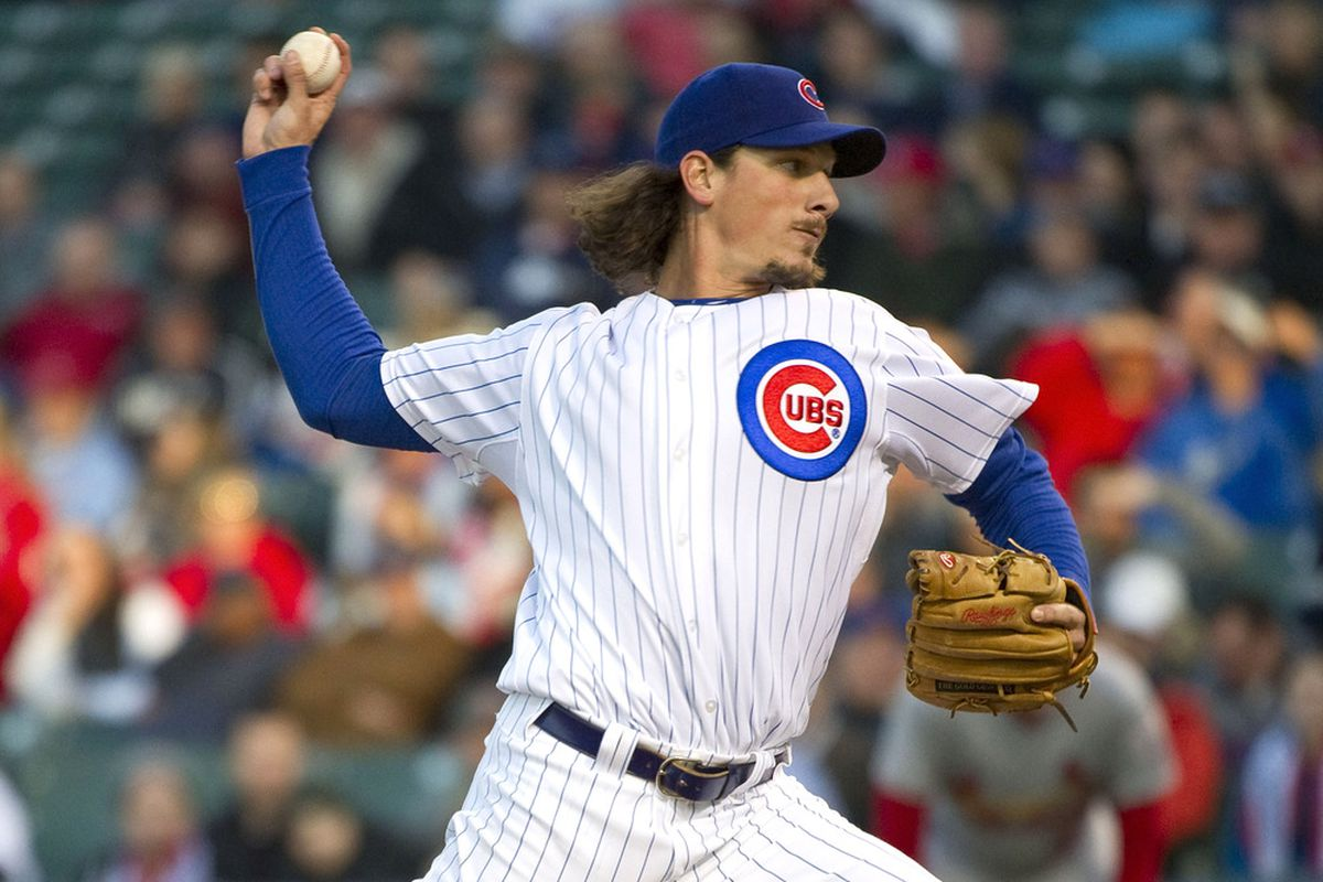 Starting pitcher Jeff Samardzija of the Chicago Cubs delivers against the St. Louis Cardinals at Wrigley Field in Chicago, Illinois.  (Photo by Brian Kersey/Getty Images)