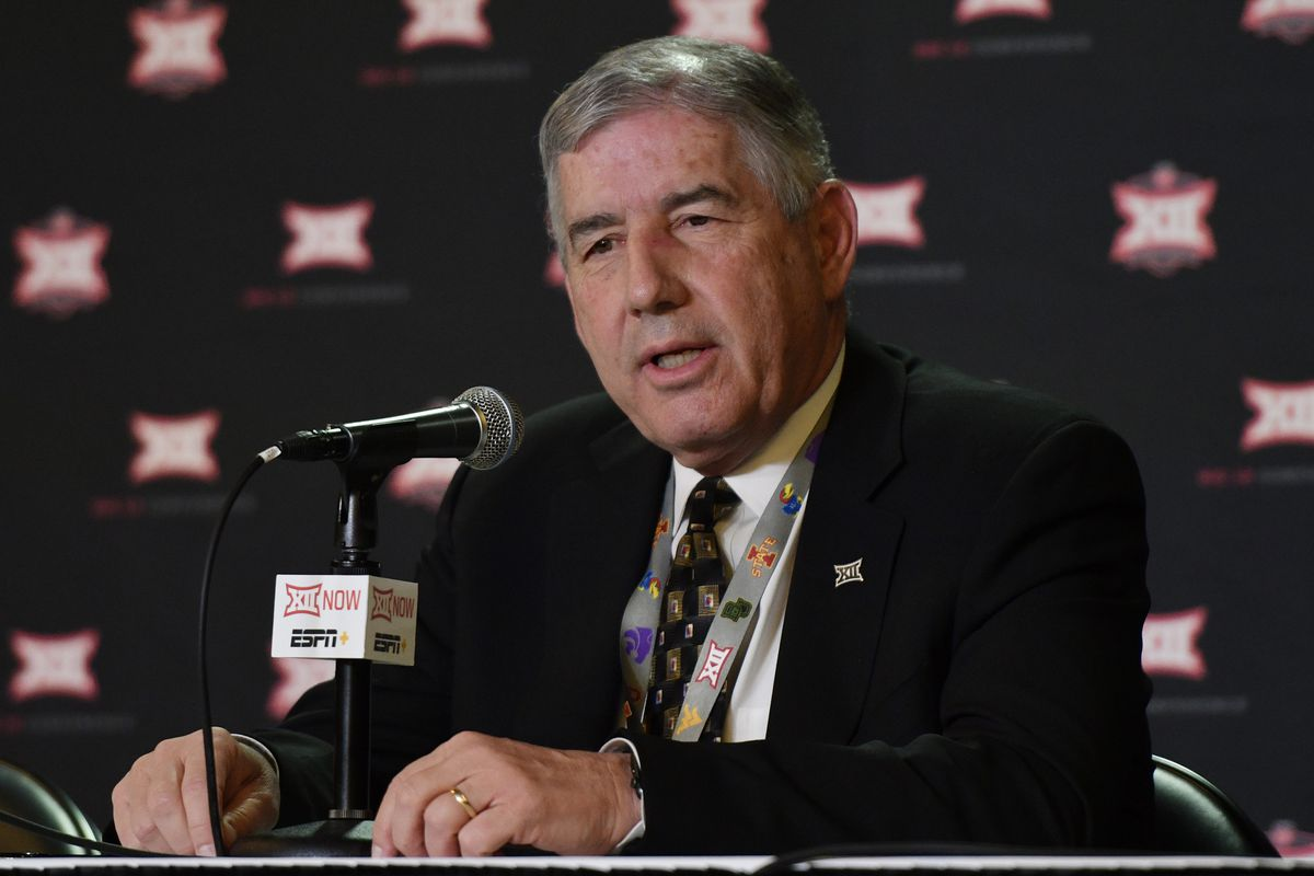 Bob Bowlsby, the Big 12 Commissioner, talks to the media as he announces that fans will not be allowed to attend the Big 12 Basketball Tournament due to the coronavirus staring on Thursday at Sprint Center on March 11, 2020 in Kansas City, Missouri. Fans will be allowed to attend today's first round games.