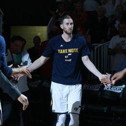 Utah Jazz forward Gordon Hayward (20) is introduced on Monday, April 24, 2017.