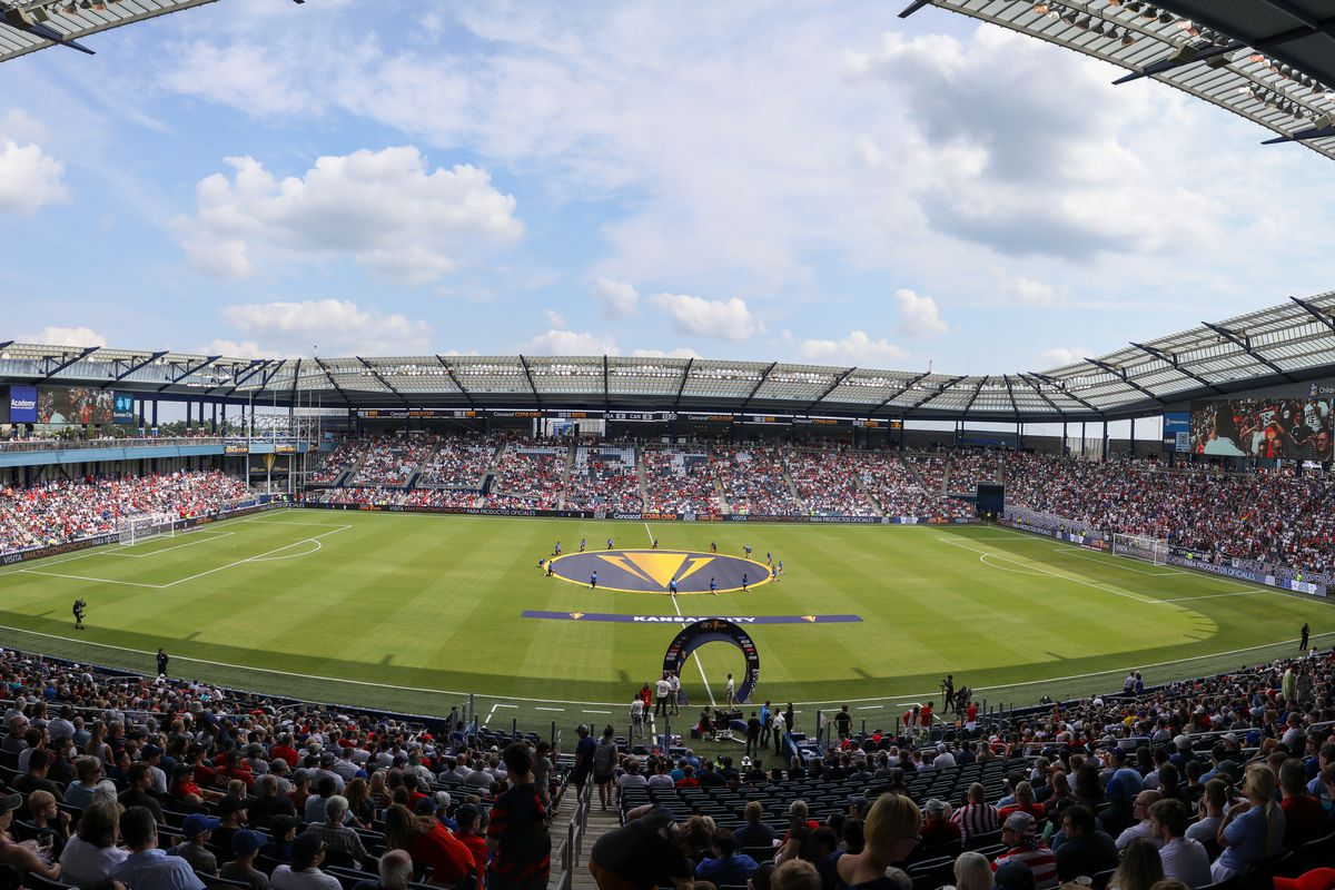 A wide view of the field and Children's Mercy Park before a Concacaf Gold Cup match between Canada and the United States on Jul 18, 2021 in Kansas City, KS.