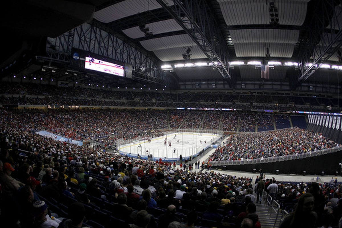 General view of Ford Field while the Wisconsin Badgers play the Boston College Eagles in the championship game of the 2010 NCAA Frozen Four on April 10, 2010 at Ford Field in Detroit, Michigan.  (Photo by Gregory Shamus/Getty Images)