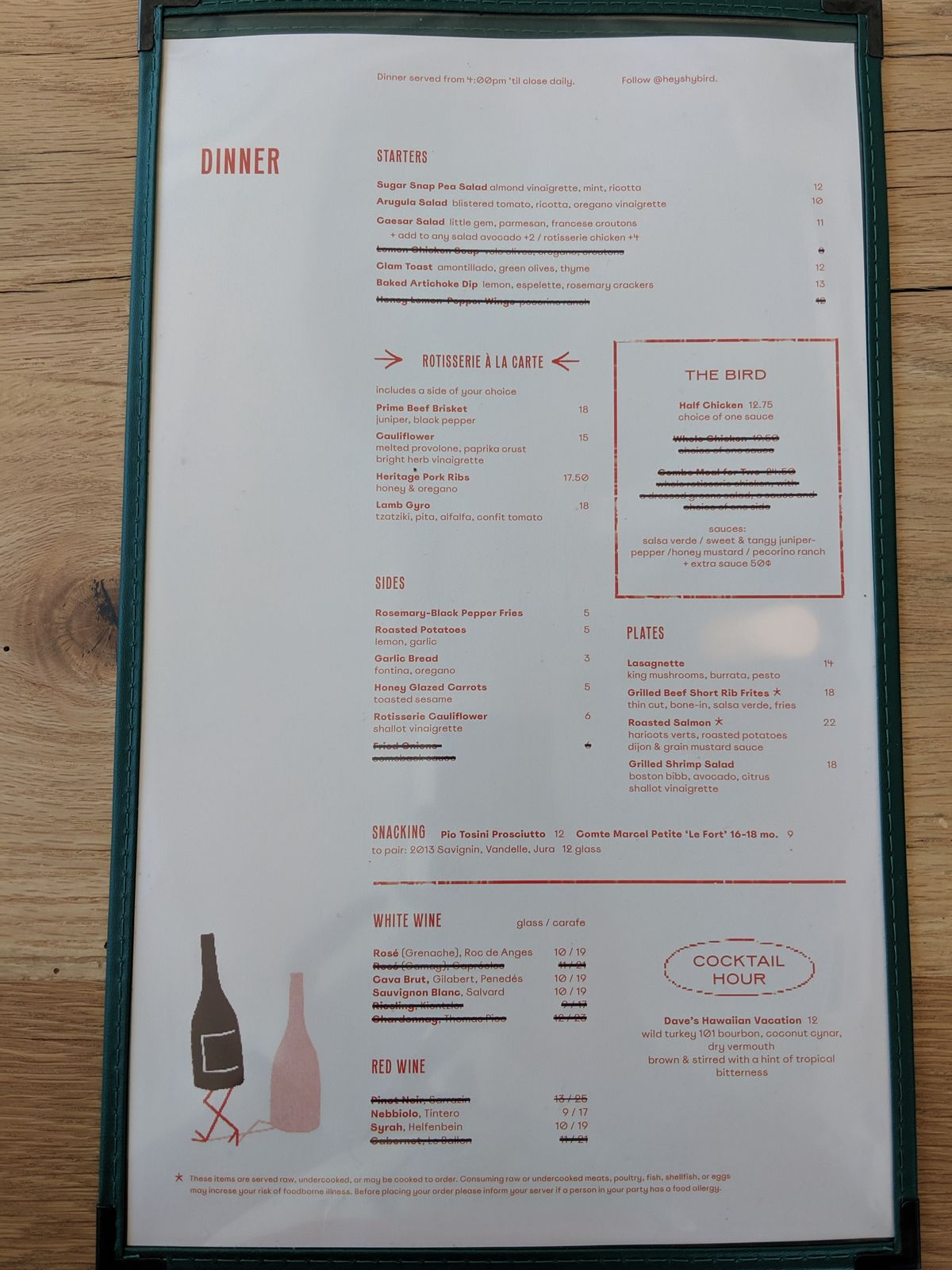 The opening dinner menu for Shy Bird in Cambridge