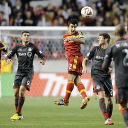 Real Salt Lake defender Tony Beltran (2) heads the ball during a game at Rio Tinto Stadium in Sandy on Saturday, March 29, 2014.