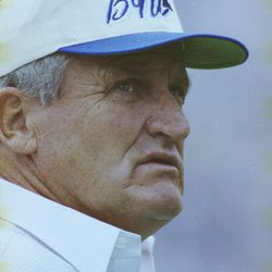 BYU head football coach LaVell Edwards coaches in December 1991.