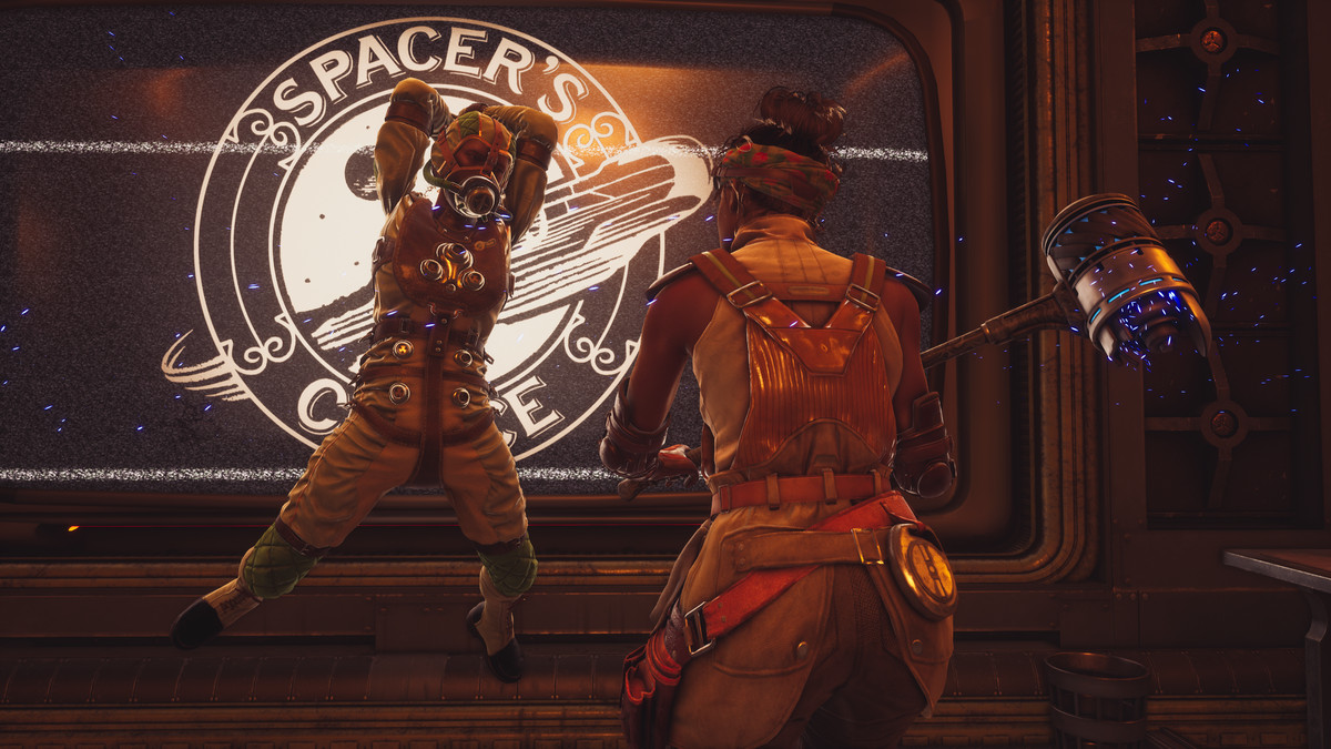 The Outer Worlds: Peril on Gorgon - a player and companions brawl in a Spacer's Choice facilities