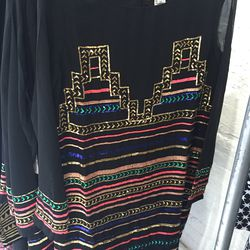 Sequined black sheer dress, $125