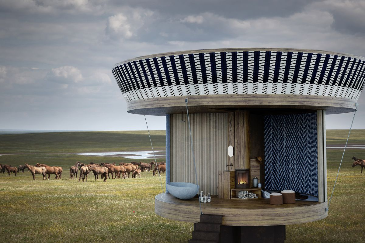 Rendering of round tiny home on grassy expanse.