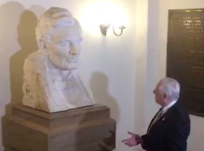Steny Hoyer, speaking to a bust of Abe Lincoln