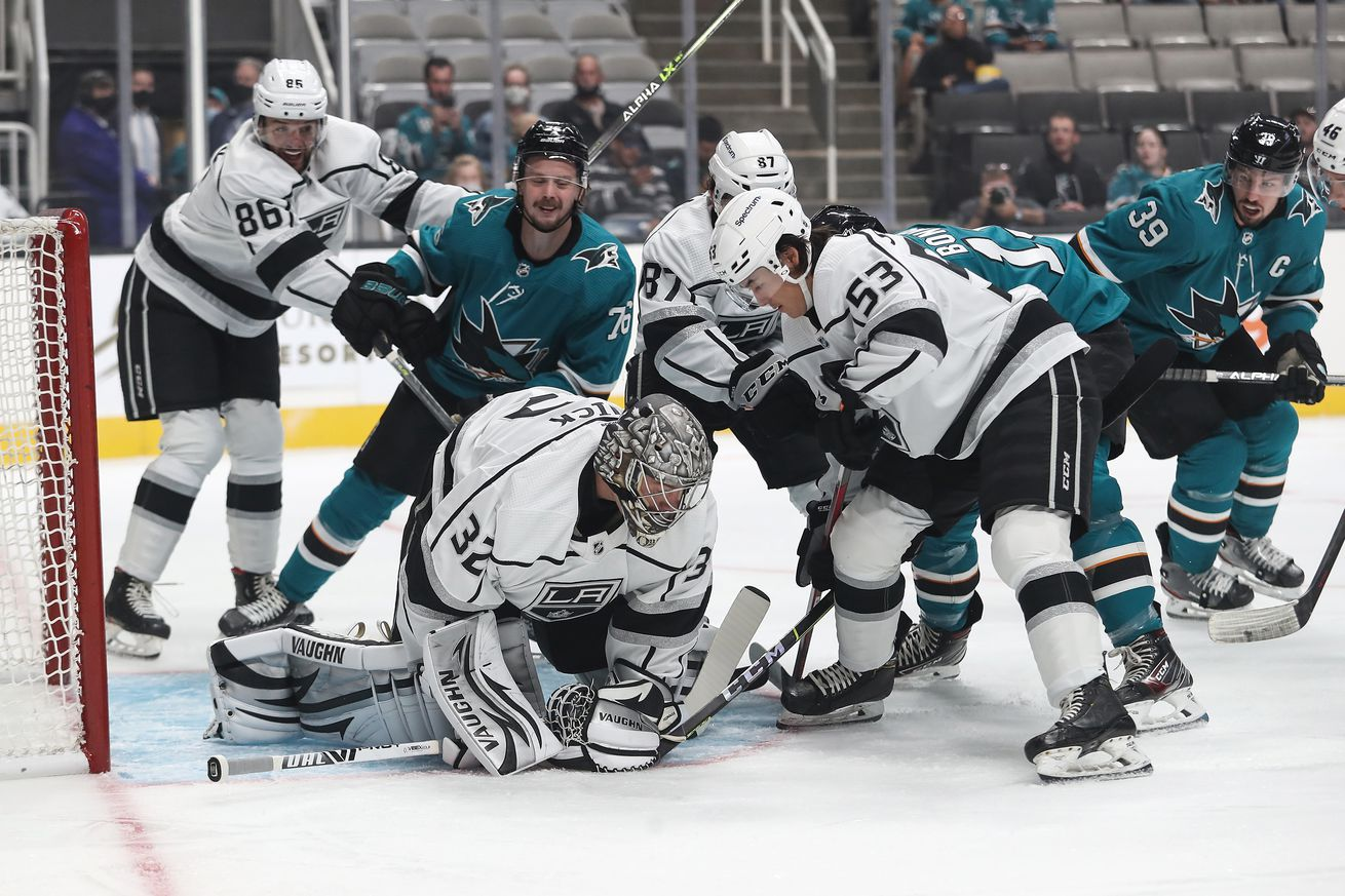 Jonathan Quick of the Los Angeles Kings makes the save against the San Jose Sharks at SAP Center on September 28, 2021 in San Jose, California.