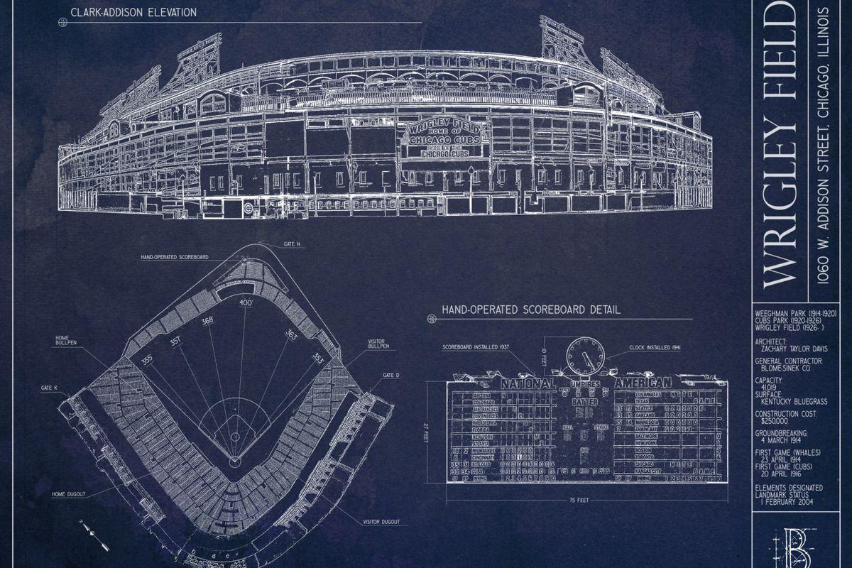 Ballpark blueprint poster contest bleed cubbie blue courtesy ballpark blueprints malvernweather Image collections