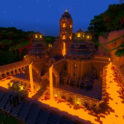 """The """"Of Temples & Totems"""" world in the <em>Minecraft</em> with RTX beta — ray tracing enabled"""