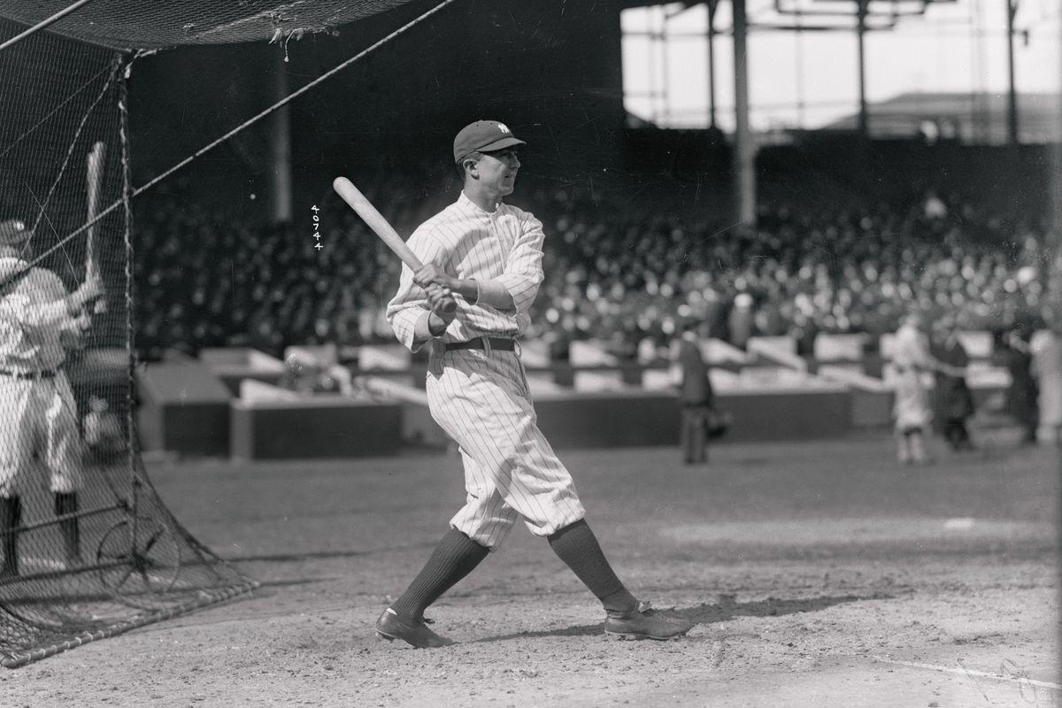 "Frank ""Home Run"" Baker of New York American Baseball Team at Bat"