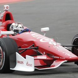 IndyCar driver Scott  Dixon, of New Zealand, drives his car during a practice session at the IndyCar's Sao Paulo 300 track in Sao Paulo, Brazil, Saturday, April 28, 2012. Brazil will host the 4th race of the IndyCar season on April 29.
