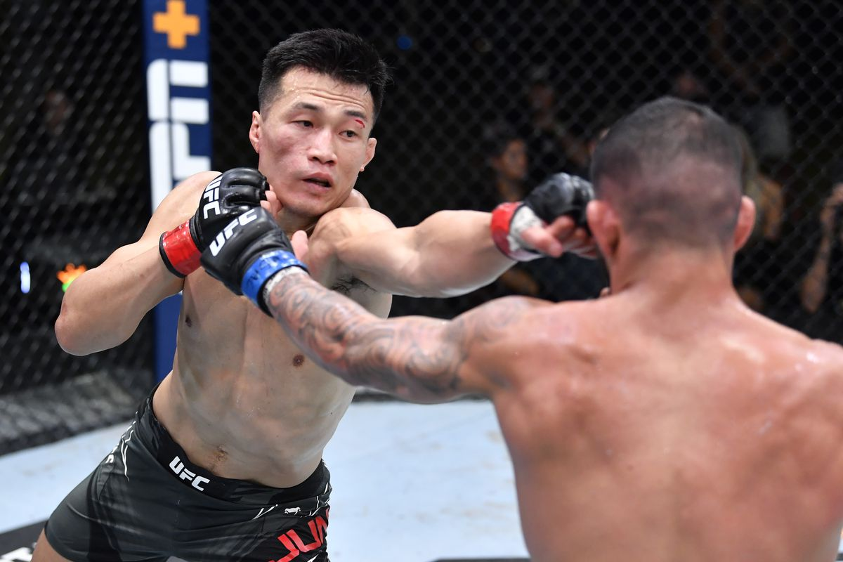 The Korean Zombie punches Dan Ige during their fight at UFC Vegas 29