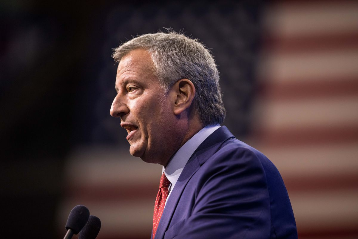 New York City Mayor Bill de Blasio speaks at a Democratic Party Convention in New Hampshire