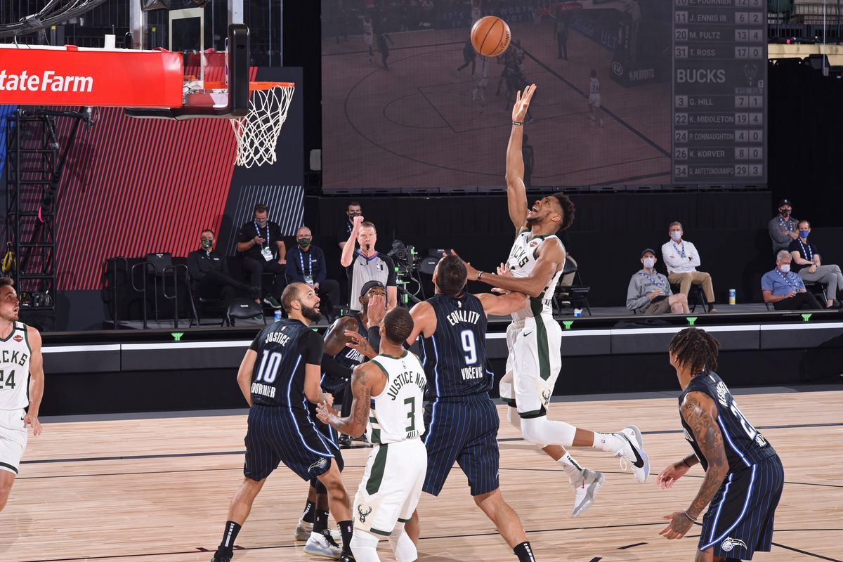 Giannis Antetokounmpo of the Milwaukee Bucks shoots the ball against the Orlando Magic during Round One, Game Four of the NBA Playoffs on August 24, 2020 in Orlando, Florida at The Field House.