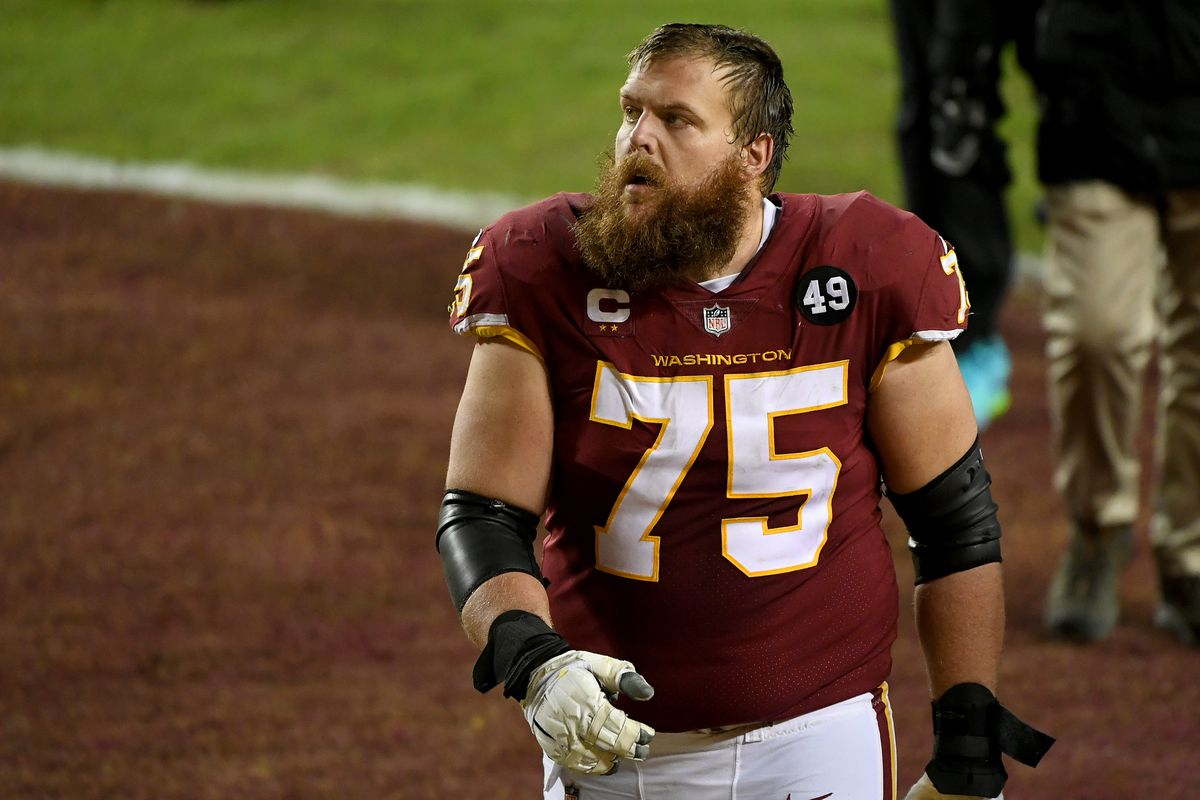 Brandon Scherff #75 of the Washington Football Team walks off the field after the game against the Carolina Panthers at FedExField on December 27, 2020 in Landover, Maryland.