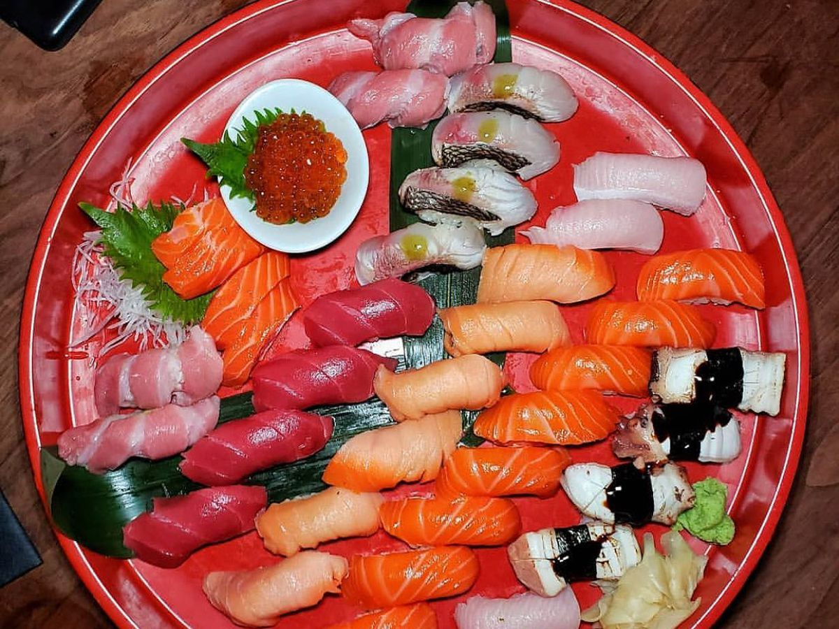 Large platter with several pieces of various nigiri