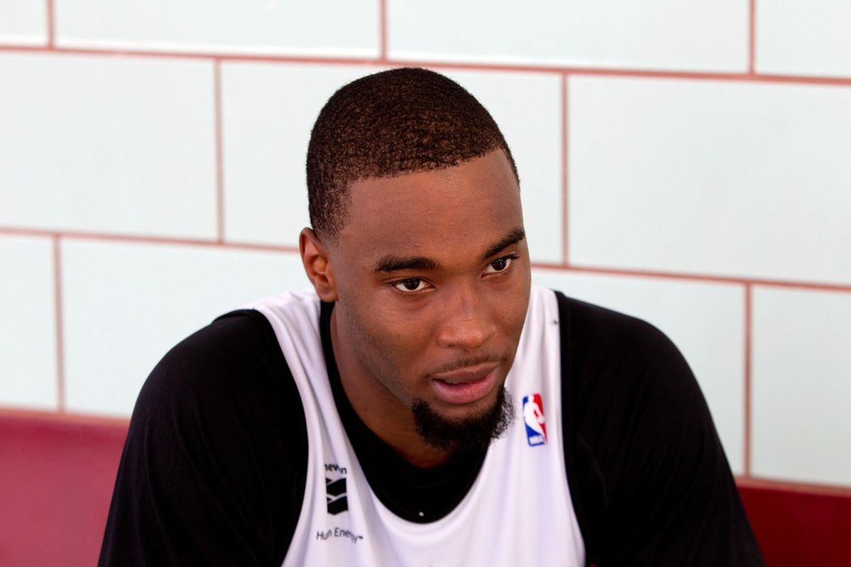 June 4, 2012; Westwego, LA, USA; Mississippi State Bulldogs forward Arnett Moultrie talks with the media following a pre-draft workout with the New Orleans Hornets at the Alario Center.  Mandatory Credit: Derick E. Hingle-US PRESSWIRE