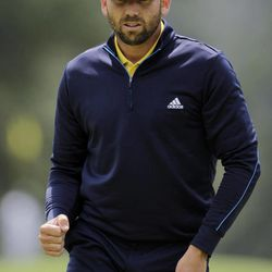 Sergio Garcia, of Spain, reacts after a birdie putt on the eight green during the second round the Masters golf tournament Friday, April 6, 2012, in Augusta, Ga.