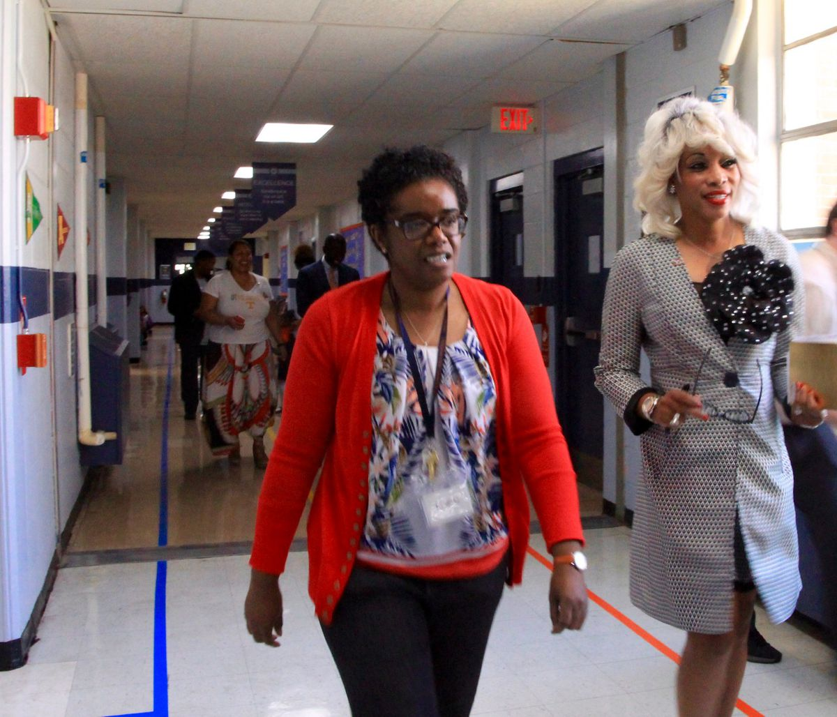 Sharon Griffin, right, tours Westwood Elementary with school leaders.