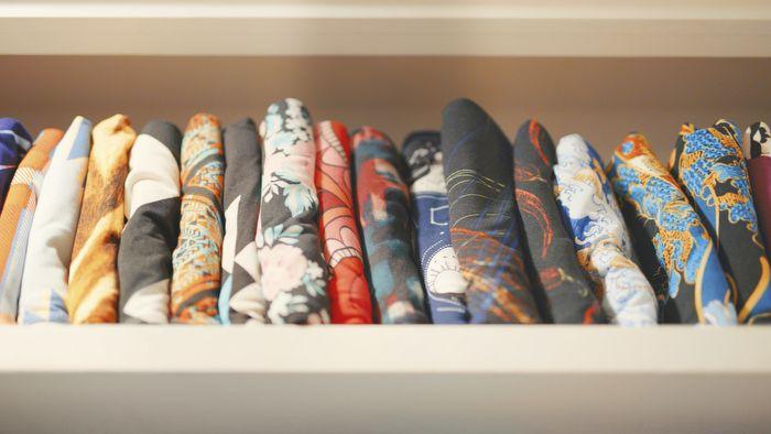 A drawer full of folded leggings.