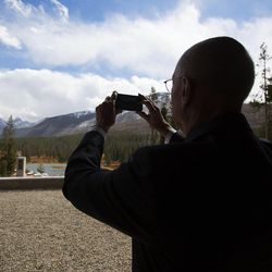 President Henry B. Eyring, first counselor in the First Presidency of the Church of Jesus Christ of Latter-day Saints, takes a photo of the landscape for watercolor after dedicating the Thomas S. Monson Lodge at the Hinckley Scout Ranch in the Uinta Mountains on Wednesday, Oct. 5, 2016.