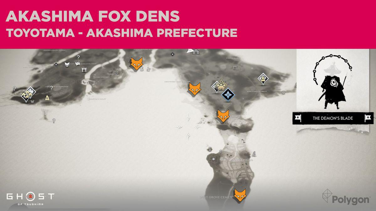 Fox Den locations in Akashima in Ghost of Tsushima