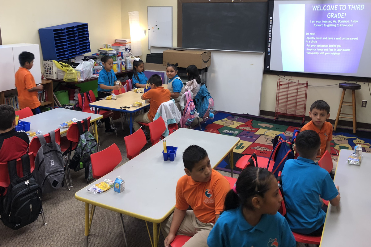 Third-graders at Escuela Avancemos, a charter school in Detroit, on the first day of the 2019-2020 school year.