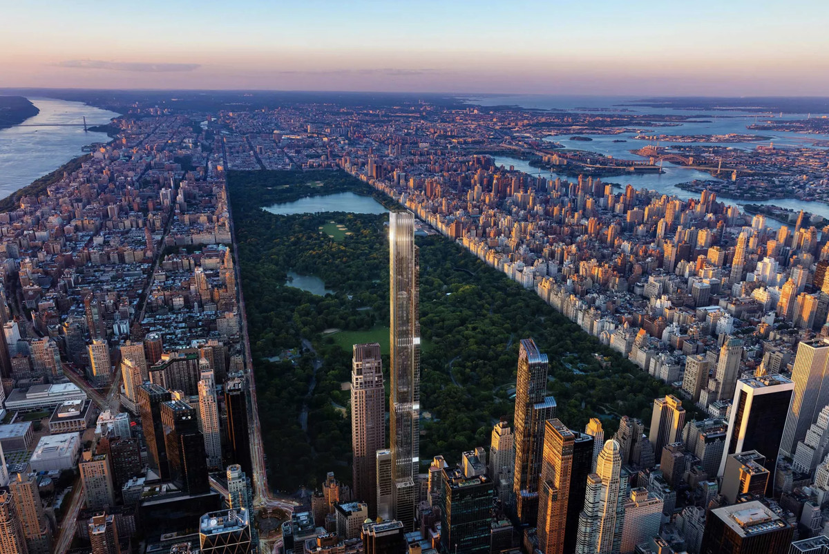An aerial rendering of Manhattan island showing a large rectangular park surrounded by buildings as well as the Hudson and East rivers. At its center, a glassy skyscraper towers above the other buildings.