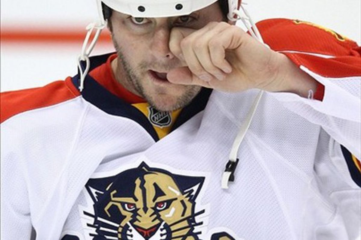 Feb 28, 2012; Toronto, ON, Canada; Florida Panthers center John Madden (10) warms up before playing against the Toronto Maple Leafs at the Air Canada Centre. The Panthers beat the Maple Leafs 5-3. Mandatory Credit: Tom Szczerbowski-US PRESSWIRE